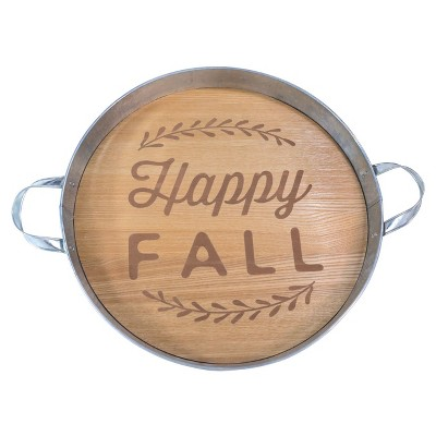 Harvest Happy Fall Round Galvanized Tin Tray