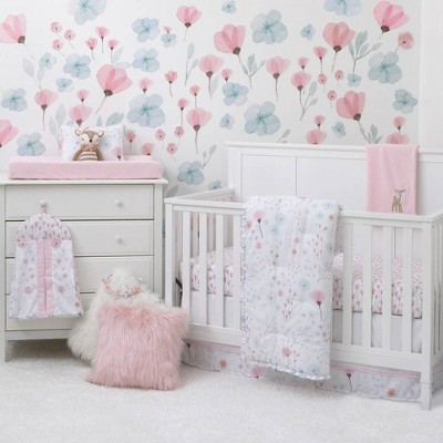 NoJo Lovely Watercolor Floral Crib Bedding Set - Pink/Aqua/Gray 8pc