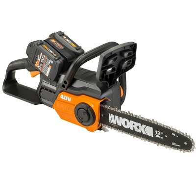 Worx WG381 POWER SHARE 40-Volt 12 in. Cordless Chainsaw w/ Auto-Tension and Brushless Motor (Batteries 2x20V and Charger Included)