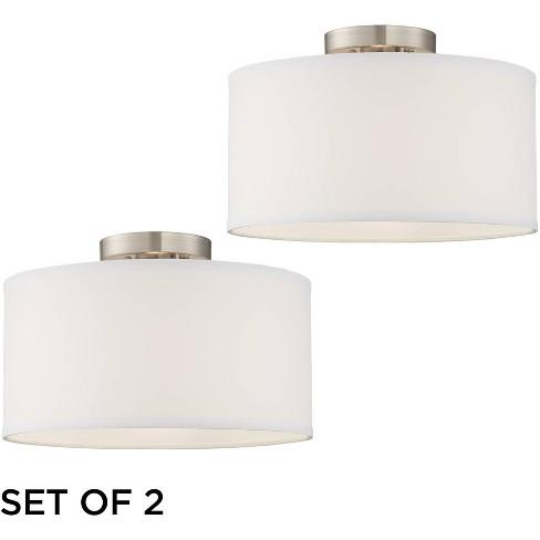 360 Lighting Modern Ceiling Light Semi Flush Mount Fixtures Set Of 2 Brushed Nickel White Fabric Drum For Bedroom Kitchen Hallway Target
