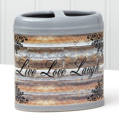"""Lakeside Farmhouse Toothbrush Holder with Sentiment - """"Live Love Laugh"""""""