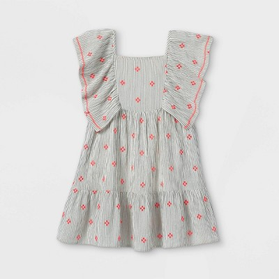 Girls' Embroidered Flutter Sleeve Woven Dress - Cat & Jack™ White