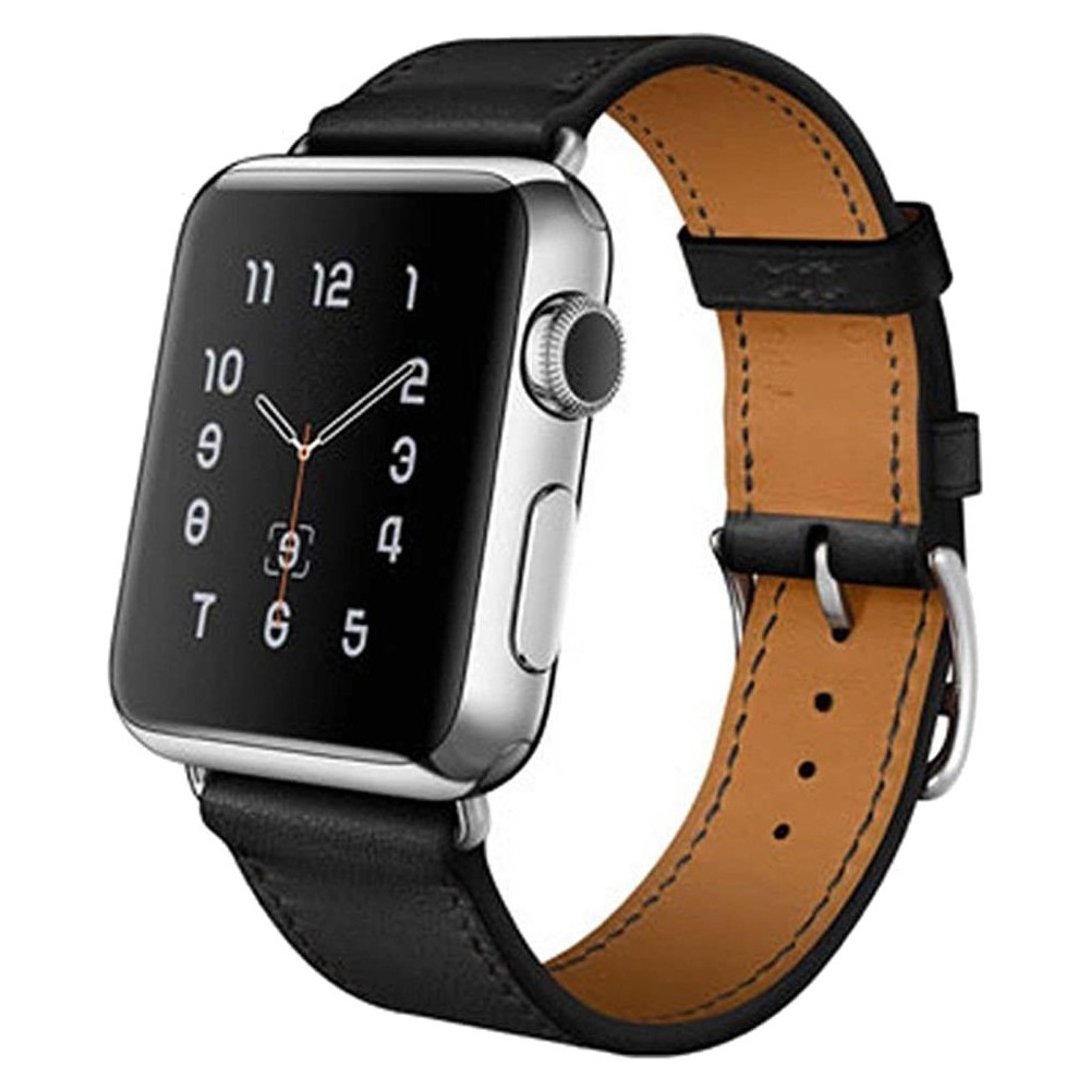 iPM Luxury Genuine Leather Watch Strap Replacement Band 42mm - Black, Adult Unisex