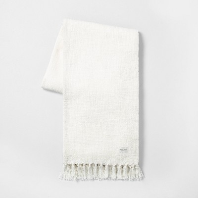 Knotted Fringe Throw Blanket White - Hearth & Hand™ with Magnolia