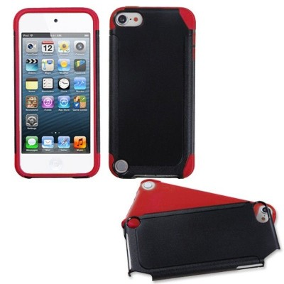 MYBAT For Apple iPod Touch 5th Gen/6th Gen Black Red Fusion Hard Silicone Hybrid Case