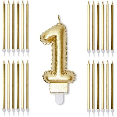 Blue Panda Gold Foil Numbers 1 Cake Topper & 24-Pack Thin Birthday Candles for 1st Birthday Party Decorations