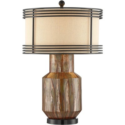 Possini Euro Design Rustic Shabby Chic Table Lamp Copper Ceramic Double Metal Fabric Drum Shade for Living Room Bedroom Bedside