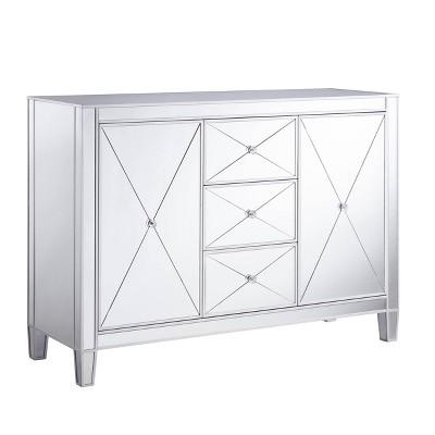 Monroe 3 Drawer Mirrored Cabinet Silver - Aiden Lane