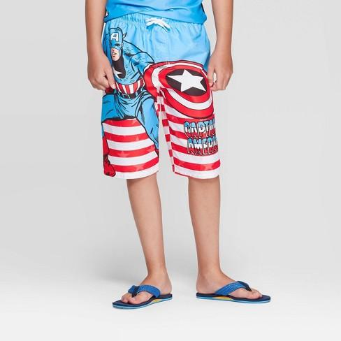 Boys' Marvel Captain America Swim Trunks - Blue S - image 1 of 3