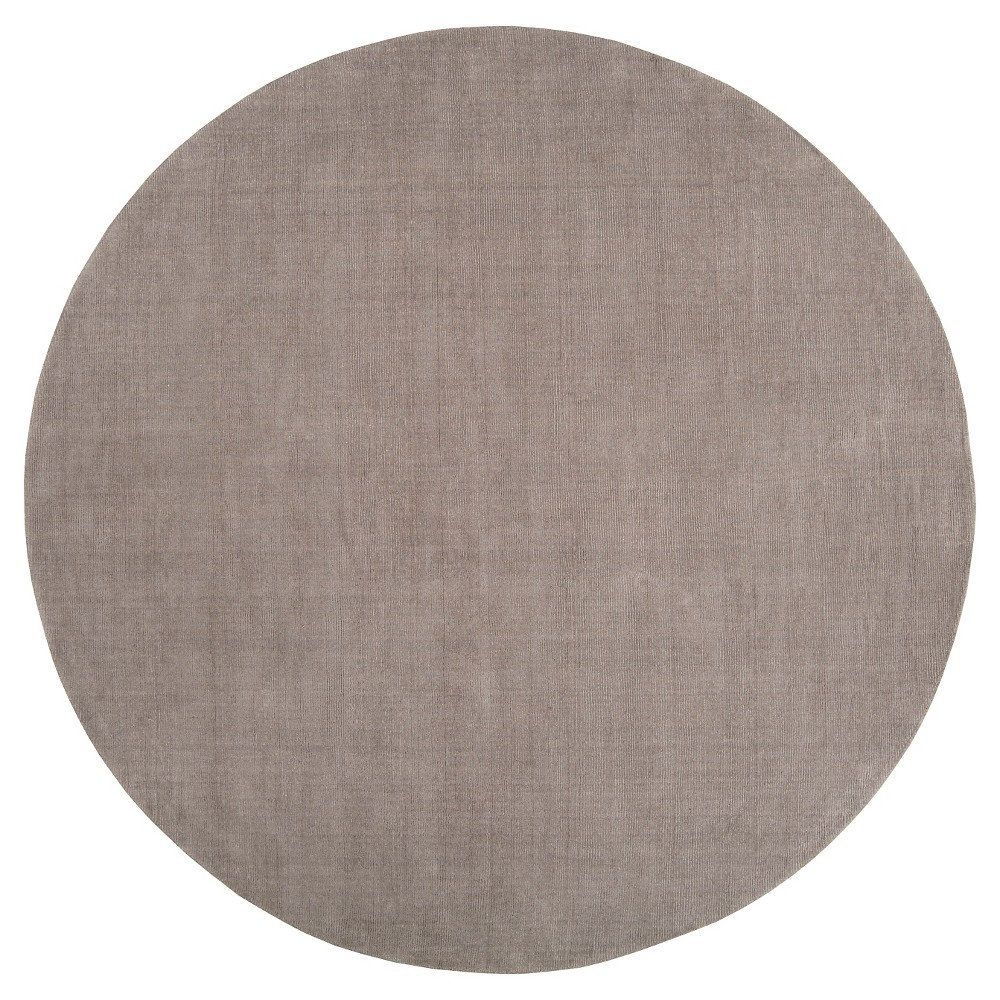 Gray Solid Loomed Round Area Rug - (6' Round) - Surya, Medium Gray