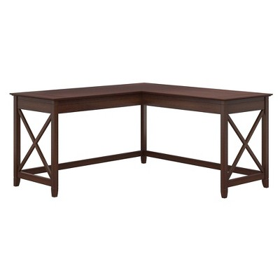 60W Key West L Shaped Desk Bing Cherry - Bush Furniture