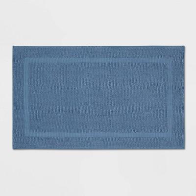 "23""x37"" Performance Texture Cotton Memory Foam Bath Rug Dark Blue - Threshold™"