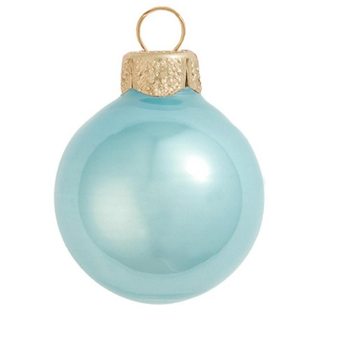 """Northlight 2ct Pearl Glass Ball Christmas Ornament Set 6"""" - Baby Blue - image 1 of 1"""