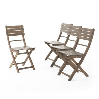 Positano 4pc Acacia Wood Patio Folding Dining Chairs - Gray Finish - Christopher Knight Home
