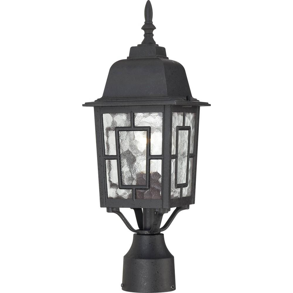 1 Light Outdoor Textured Post Sconce Black Aurora Lighting