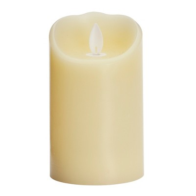 """3"""" x 5"""" Unscented LED Flickering Flame Pillar Candle Cream - Threshold™"""
