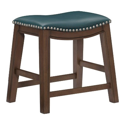 Homelegance 18-Inch Dining Height Wooden Bar Stool with Solid Wood Legs and Faux Leather Saddle Seat Kitchen Barstool Dinning Chair, Green and Brown