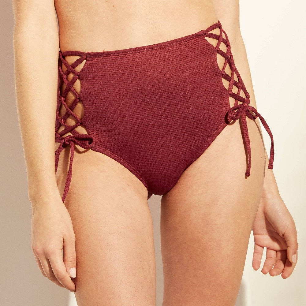 Women's Textured Tie Side High Waist Bikini Bottom - Shade & Shore Caramel XS, Brown