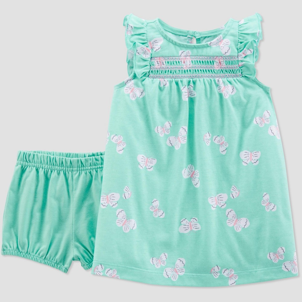 54205a3541798 Baby Girls Butterflies Dress Just One You made by carters Green 9M Blue