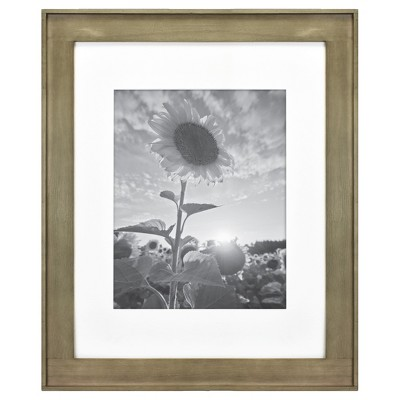 "16"" x 20"" Matted to 11"" x 14"" Plank Wood Wall Frame Brown - Threshold™"