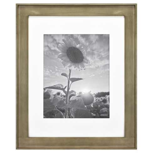 """16"""" x 20"""" Matted to 11"""" x 14"""" Plank Wood Wall Frame Brown - Threshold™ - image 1 of 4"""