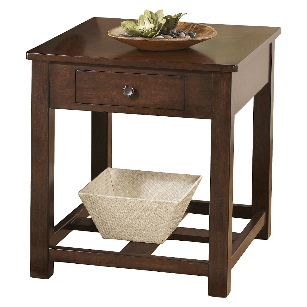 Marion Rectangular End Table Dark Brown - Signature Design by Ashley
