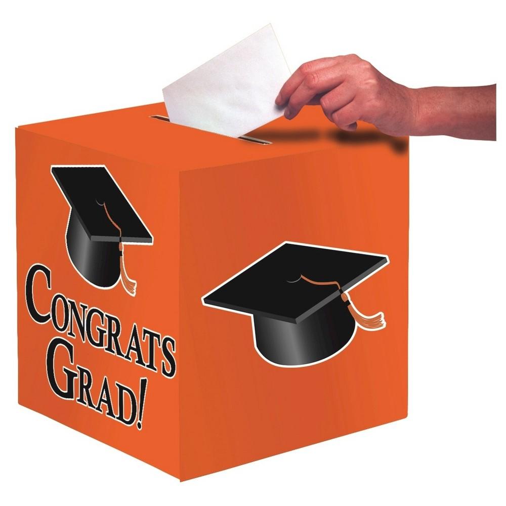 Orange Congrats Grad! Party Card Box