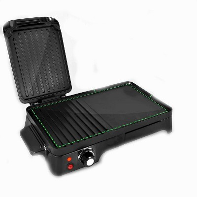NutriChef PKGRIL43.5 Aluminum 2 in 1 Electric Griddle Crepe Hot Plate Cooktop with Press Grill for Paninis with Nonstick Coating, Black