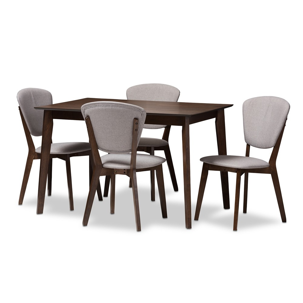 Prime Tarelle Mid Century Modern Walnut Finished Fabric Gmtry Best Dining Table And Chair Ideas Images Gmtryco