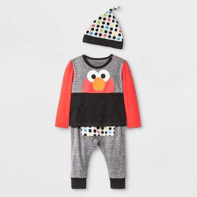 Baby Boys' 3pc Isaac Mizrahi Loves Sesame Street Elmo Set - Gray 3-6M