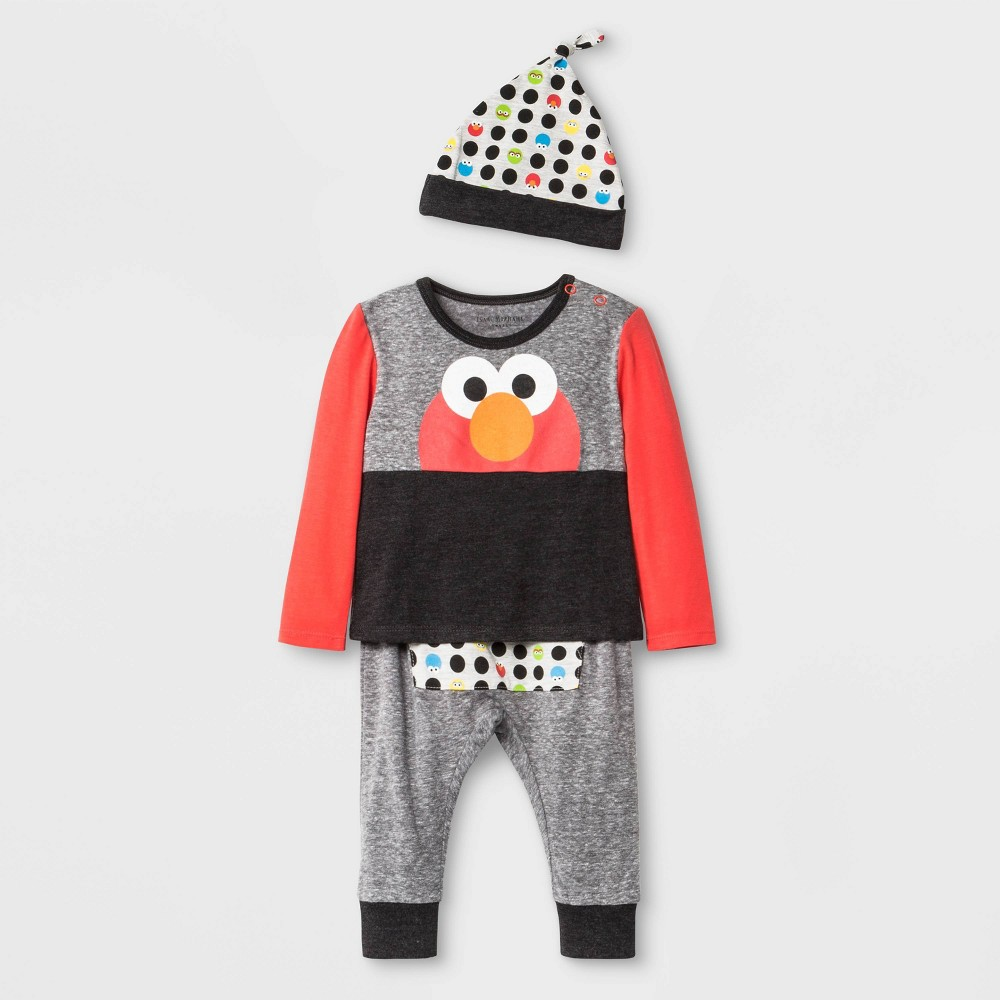 Image of Baby Boys' 3pc Isaac Mizrahi Loves Sesame Street Elmo Set - Gray 0-3M, Boy's