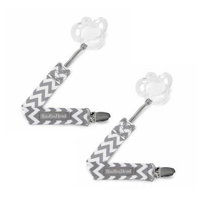 BooginHead 2-pack PaciGrip Pacifier Clip Pacifier Holder - Gray Chevron