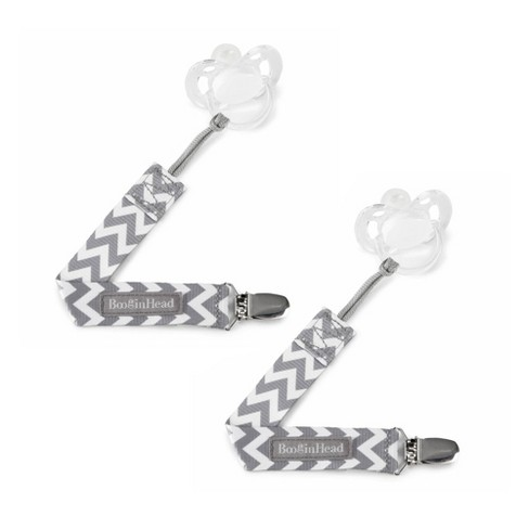 BooginHead 2-pack PaciGrip Pacifier Clip Pacifier Holder - Gray Chevron - image 1 of 5