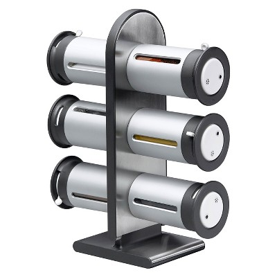 Zevro Zero Gravity™ Countertop 6 Canister Magnetic Spice Stand - Silver