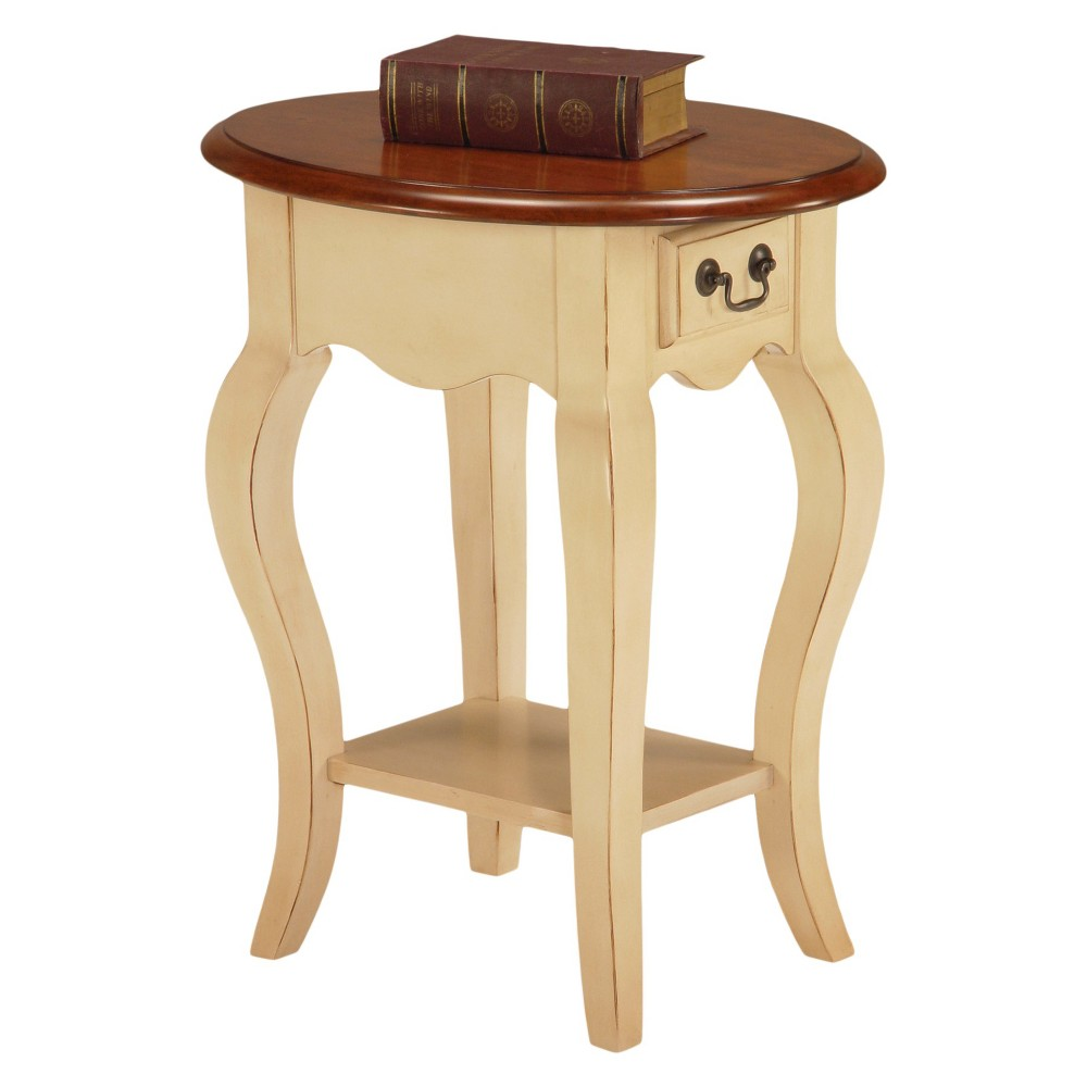 Favorite Finds Oval Side Table Ivory Finish - Leick Home