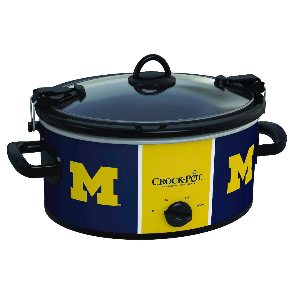 Michigan Wolverines NCAA Crock-Pot Cook & Carry Slow Cooker, SCCPNCAA600-Umi, Royal The Crock-Pot Cook and Carry Slow cooker is just as convenient at home in the kitchen as it is on the road. The stoneware transfers easily from your slow cooker to the table or refrigerator. Both the stoneware and the glass lid are dishwasher-safe, making clean-up simple. Crock-Pot Slow Cookers make cooking easy, but the Crock-Pot NCAA Cook and Carry Slow Cooker makes it easy to get your dish from here to there while showing team pride. Color: Royal.
