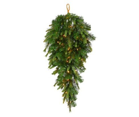 36 Quot Pre Lit Upside Down Artificial Christmas Tree Pine