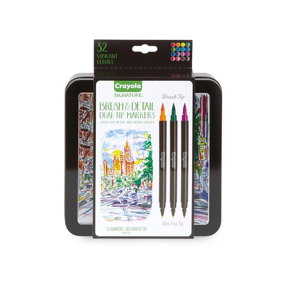 Crayola Signature 16ct Brush Dual-Tip Ultra Fine Marker
