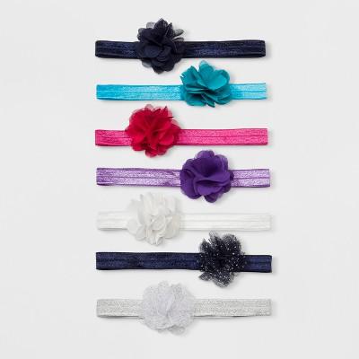 Toddler Girls' 7pk Flower Hair Elastics - Cat & Jack™ Blue/White One Size