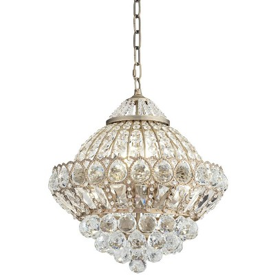 "Vienna Full Spectrum Antique Brass Chandelier 16"" Wide Crystal Shade 6-Light Fixture for Dining Room House Foyer Kitchen Entryway"
