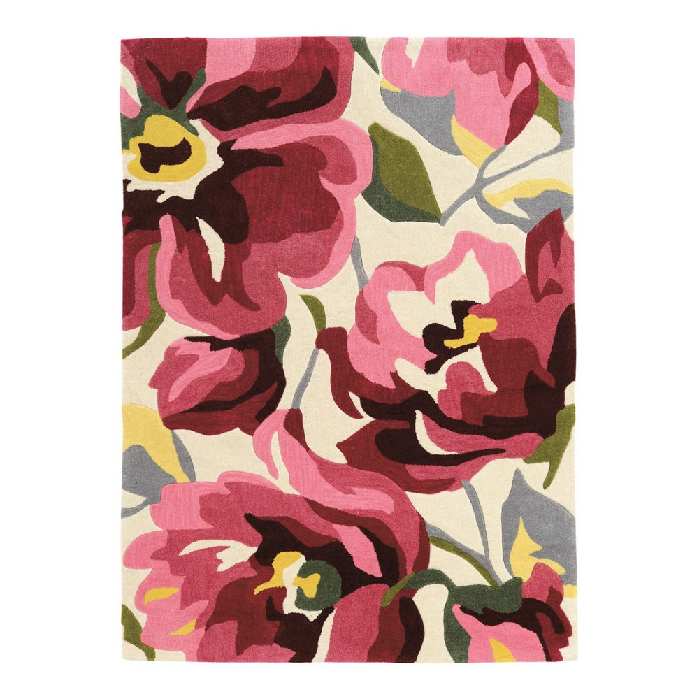 Light Off-White Floral Loomed Area Rug 5'X7' - Linon, Off-White Pink