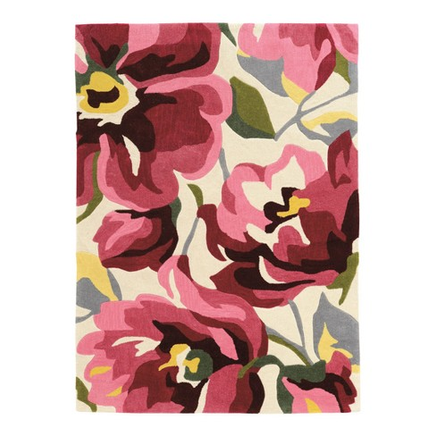 Ivory/Pink Hamby Bold Floral Loomed Rug - Linon - image 1 of 1