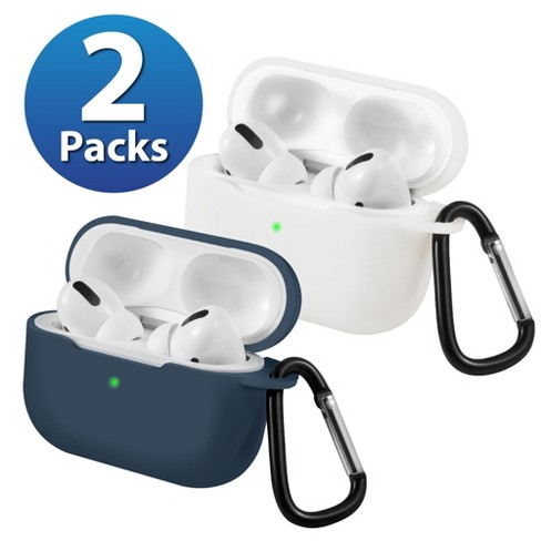 2-Pack For AirPods Pro Case [Midnight Blue & White] Ultra Thin Silicone Protective Cover with Keychain For Apple AirPods Pro 2019 (3rd Gen) by Insten - image 1 of 1