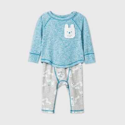 Baby Cozy Top & Bottom Set - Cat & Jack™ Turquoise 3-6M