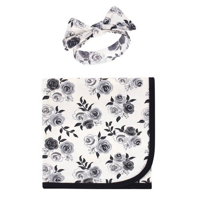 Touched by Nature Unisex Baby Organic Cotton Swaddle Blanket and Headband - Black Floral One Size