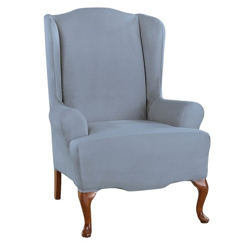 Ultimate Stretch Suede Wing Chair, Velvet Wing Chair Slipcover