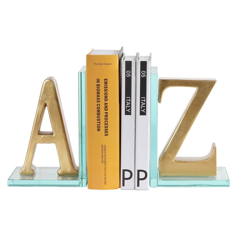Image of Danya B A to Z Glass Bookends Gold, Bright Gold
