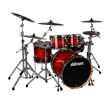 ddrum Dominion Birch 5-piece Shell Pack with Ash Veneer Red Burst