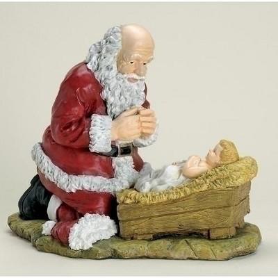 """Roman 12"""" Religious Kneeling Santa Claus with Baby Jesus Christmas Figure"""
