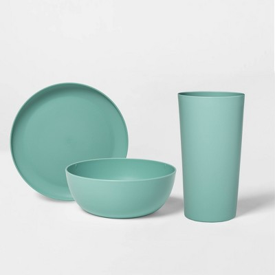 12pc Plastic Dinnerware Set Green - Room Essentials™